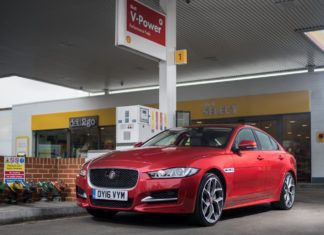 2017 Jaguar XE 20d at Shell pump
