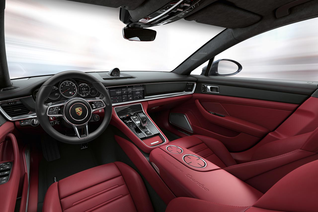 2017 porsche panamera turbo red interior dashboard autobics