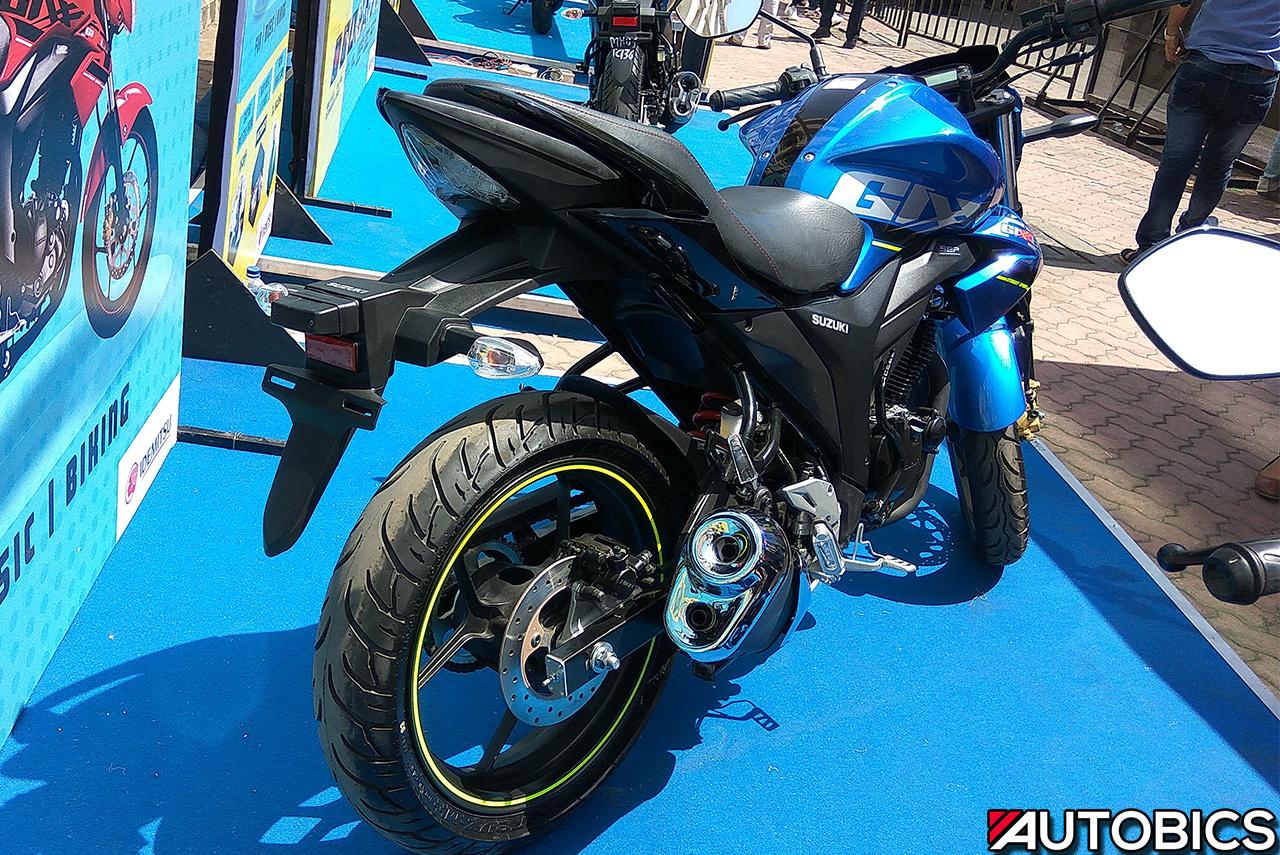 2017 Suzuki Gixxer Metallic Triton Blue Rear Autobics