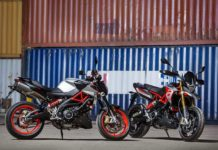 2017 aprilia shiver 900 and dorsoduro 900 side