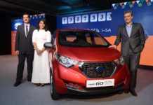 Arun Malhotra, Sakshi Malik and Jerome Saigot at the launch of Datsun redi-GO 1.0l
