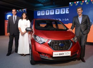 Arun Malhotra, Sakshi Malik and Jerome Saigot at the launch of Datsun redi-GO 1.0l