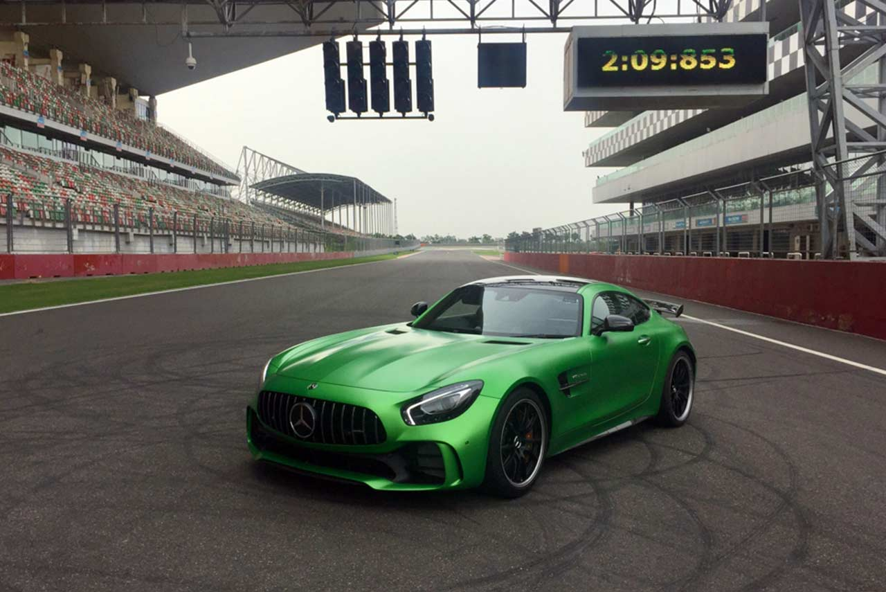 2017 mercedes-amg gt r fastest lap record at buddh international circuit