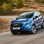 2018 ford ecosport st-line lightning blue front quarter rolling