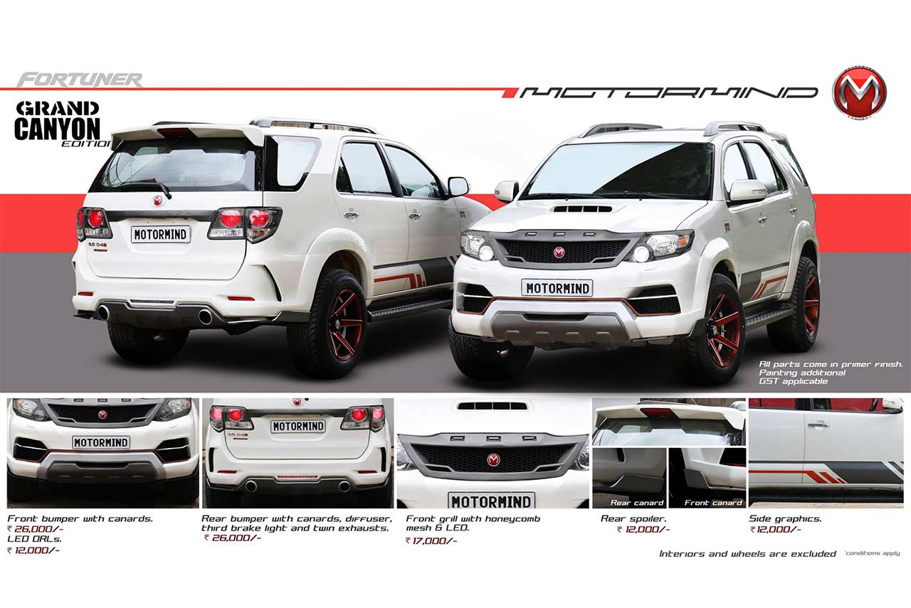 toyota fortuner modification cost by motormind