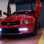 chevrolet cruze modified into red camaro motormind scissor door