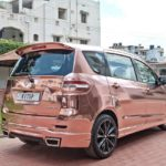 maruti suzuki ertiga modified kitup rose gold wrap rear rear quarter