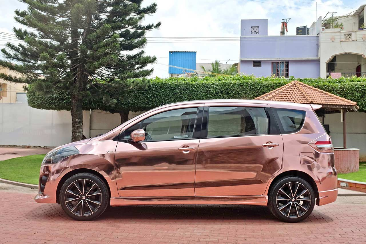 Modified Maruti Suzuki Ertiga With Rose Gold Chrome Wrap Autobics