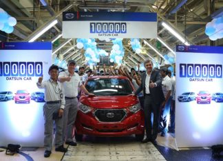 1,00,000th Datsun milestone car redi-go ruby red rolling out from chennai facility