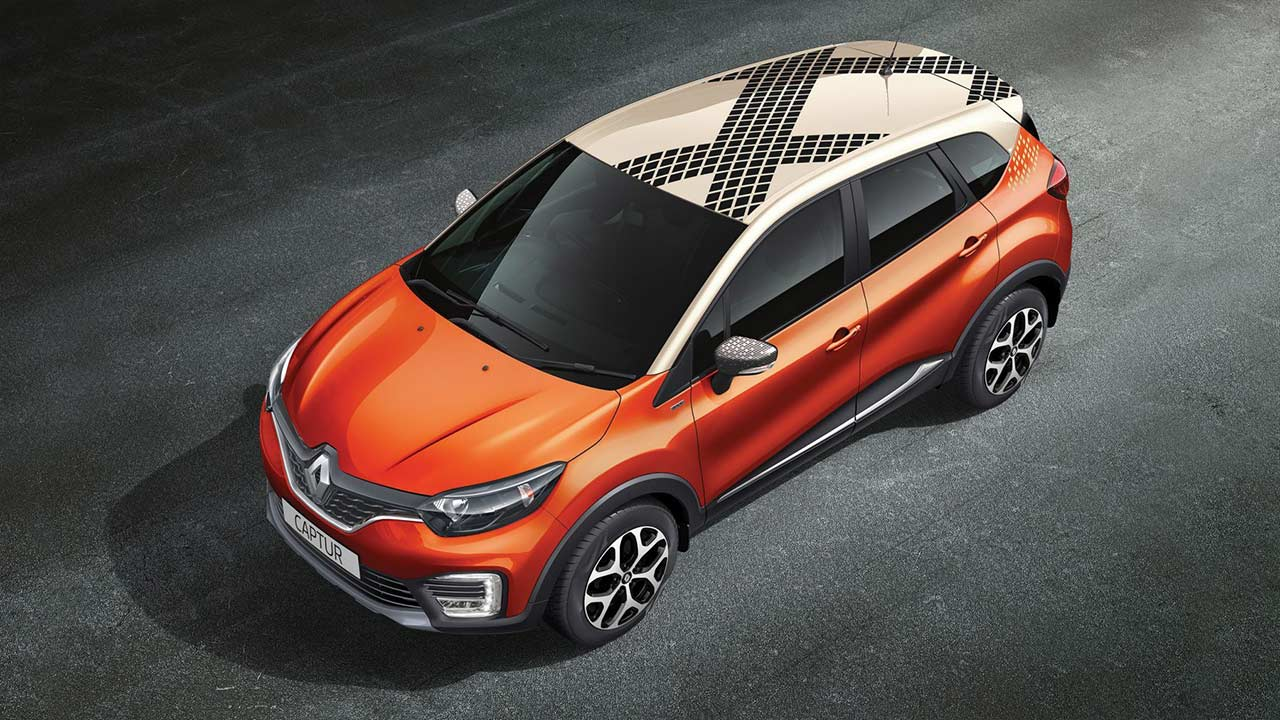 renault captur diamond deck cayenne orange body with marble ivory 2017 autobics. Black Bedroom Furniture Sets. Home Design Ideas
