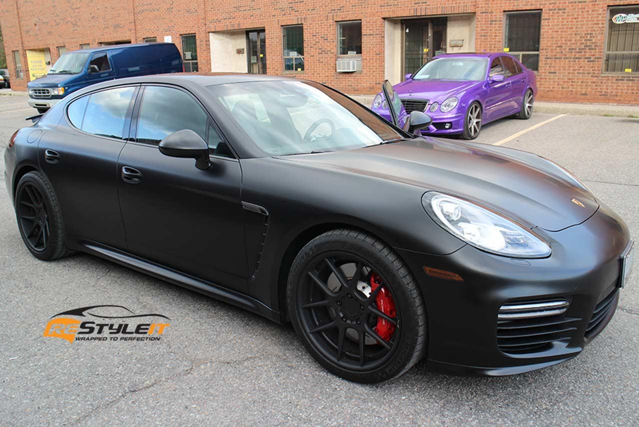 Porsche Panamera Matte Black Satin Wrap Restyleit