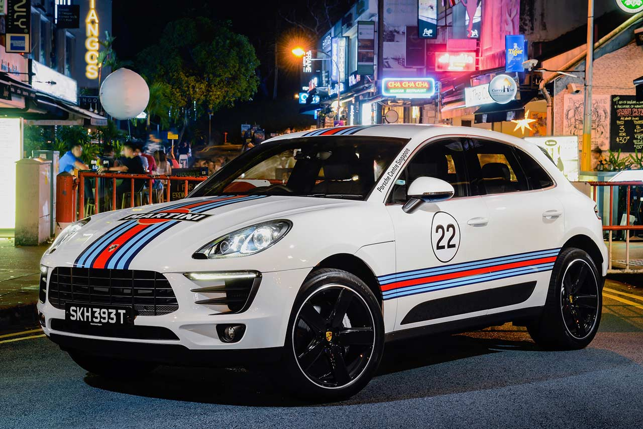 Porsche Macan Martini Racing at Holland Village Singapore 2017