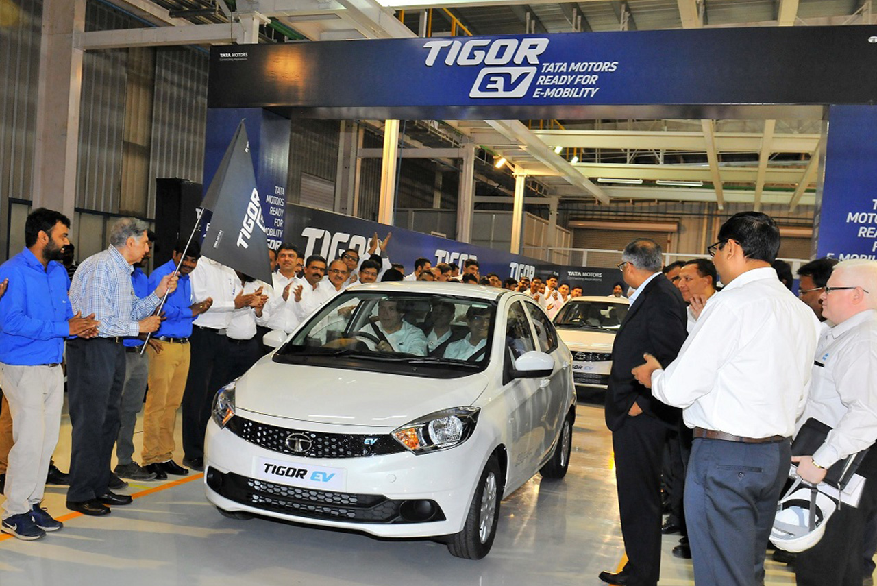 Tata Tigor Electric Vehicle Rolls out from Sanand Plant