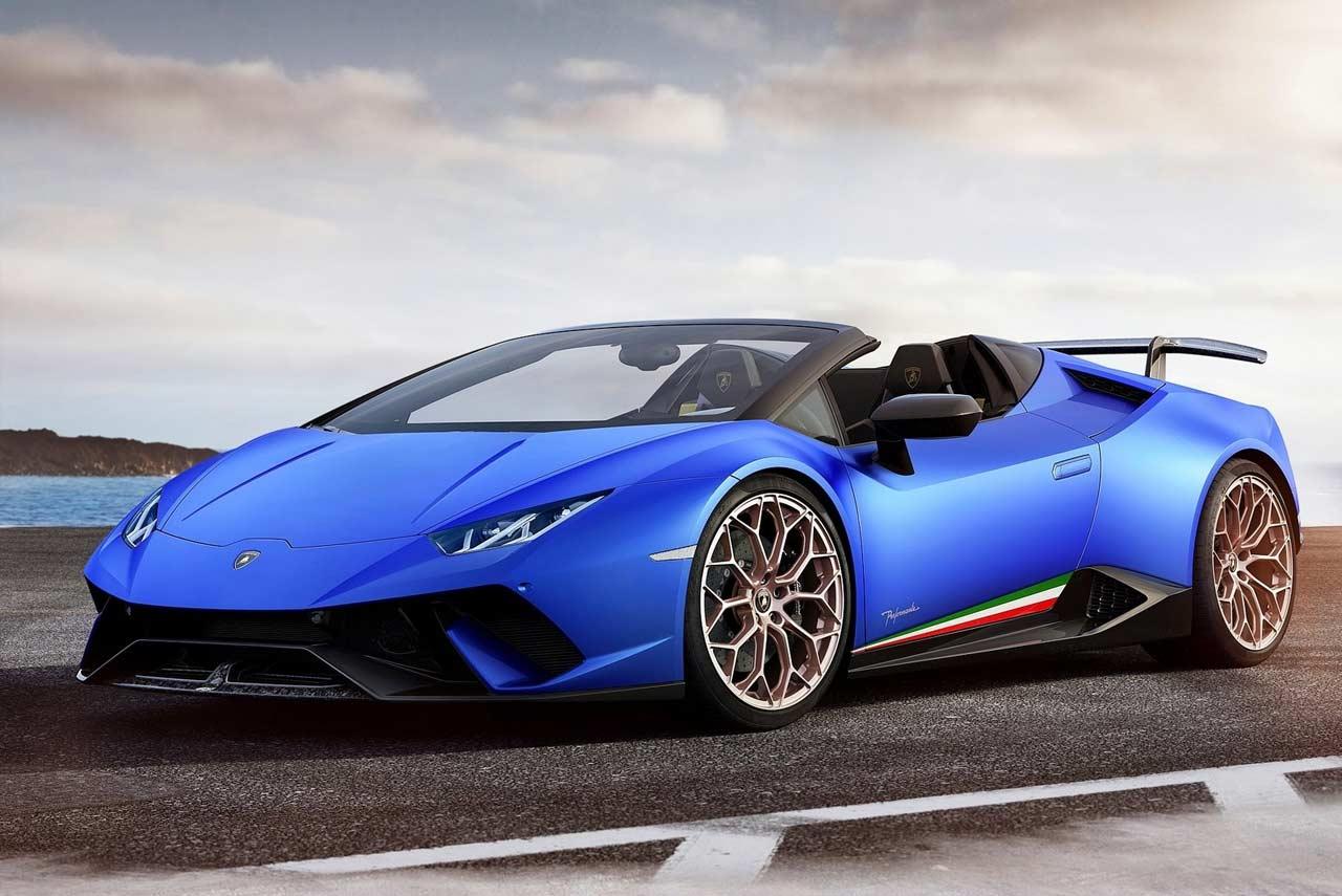 Lamborghini Huracan Performante Spyder Blue Front 2018