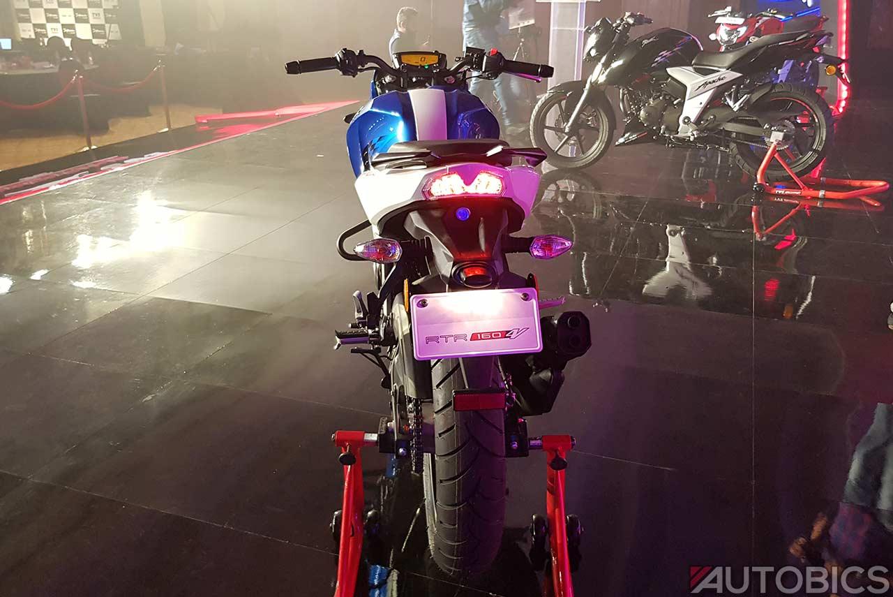 Tvs Apache Rtr 160 4v Metallic Blue Rear 2018 Autobics