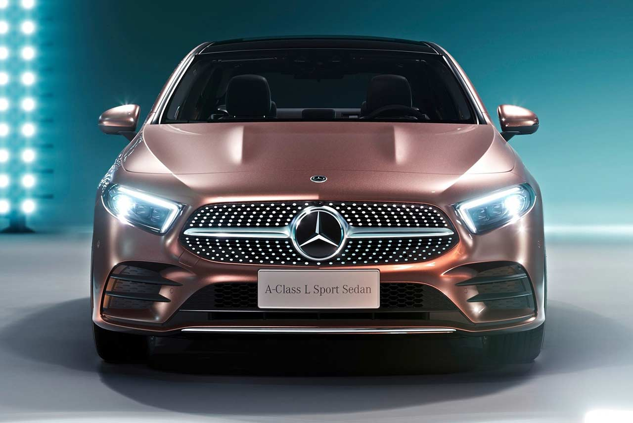 2019 Mercedes Benz A Class L Sedan Rose Gold Front Autobics