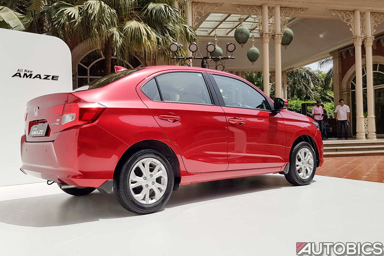 Honda Amaze Rear Quarter Radiant Red 2018 Autobics