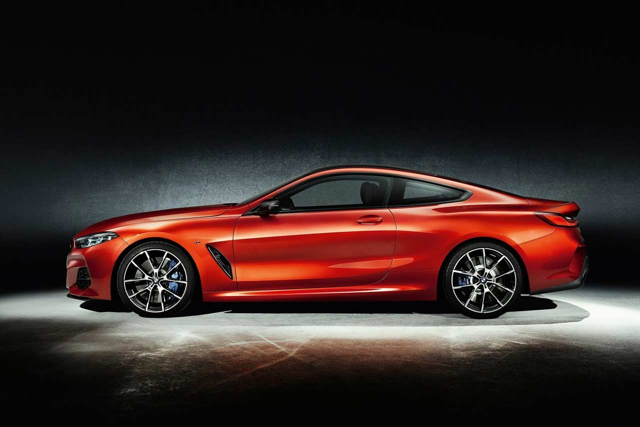 New BMW 8 Series Coupe Orange Side 2018