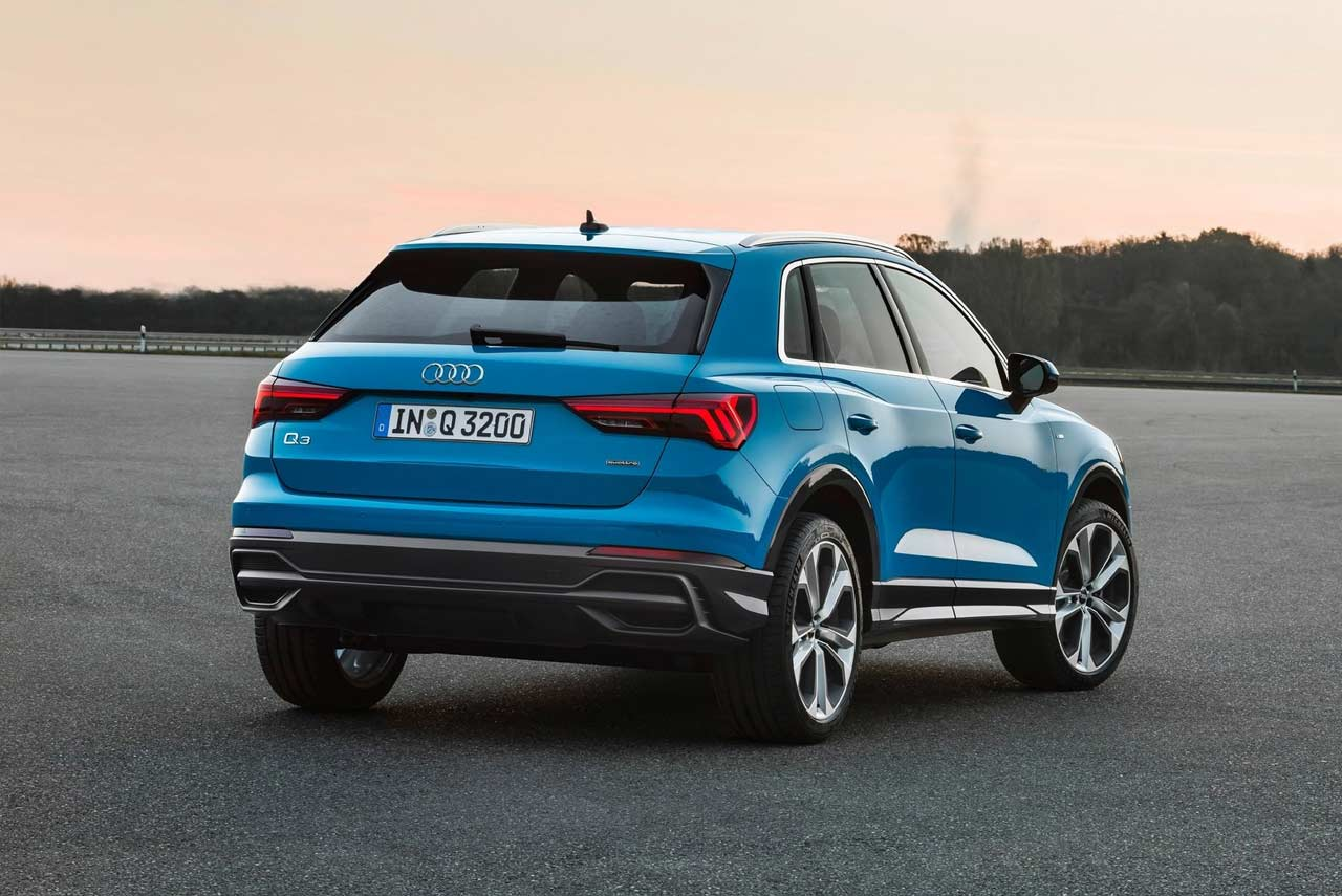 audi q3 s line blue rear quarter 2019 autobics. Black Bedroom Furniture Sets. Home Design Ideas